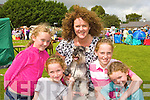 Competing at the Killarney and District International dog show in Killarney on Tuesday was Molly O'Connor, Eoibhe O'Brien, Celine O'Connor, Cliodhna O'Brien, Clodagh O'Connor and their minature Schnauzer