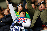 9th February 2020; The Den, London, England; English Championship Football, Millwall versus West Bromwich Albion; West Bromwich Albion fans celebrate by waving to the Millwall fans after Dara O'Shea of West Bromwich Albion scored his sides 2nd goal in the 84th minute to make it 0-2