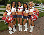 Houston Texan cheerleaders Susannah, Vanessa, Andrea, Dani and Ashley N. welcome guests at the American Cancer Society's Cattle Baron's Ball at the George Ranch Saturday April 26,2008. (Dave Rossman/For the Chronicle)