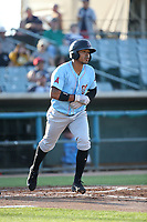 Brandon Diaz (5) of the Inland Empire 66ers runs to first base during a game against the Lancaster JetHawks at The Hanger on September 3, 2017 in Lancaster, California. Lancaster defeated Inland Empire, 5-4. (Larry Goren/Four Seam Images)