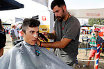Time for a trim in the Vuelta Village before the start of Stage 17 of the 2017 La Vuelta, running 180.5km from Villadiego to Los Machucos. Monumento Vaca Pasiega, Spain. 6th September 2017.<br /> Picture: Unipublic/&copy;photogomezsport | Cyclefile<br /> <br /> <br /> All photos usage must carry mandatory copyright credit (&copy; Cyclefile | Unipublic/&copy;photogomezsport)