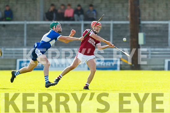 Keith Carmody Causeway in action against Eric Leen St Brendans during the Senior Kerry County Hurling Semi Finals between Causeway v Brendans at Austin Stack park on Saturday last.