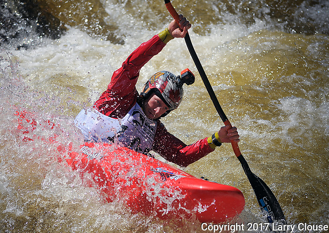 June 8, 2017 - Vail, Colorado, U.S. - Canadian, Nick Troutman, prepares to drop into Homestake Creek's Birdbath Rapid in the Steep Creek competition during the GoPro Mountain Games, Vail, Colorado.  Adventure athletes from around the world meet in Vail, Colorado, June 8-11, for America's largest celebration of mountain sports, music, and lifestyle.