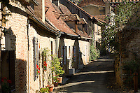 A quiet lane of stone cottages in Limeuil, a hill village on the River Dordogne in Perigord which is officially one of France's hundred most beautiful villages.