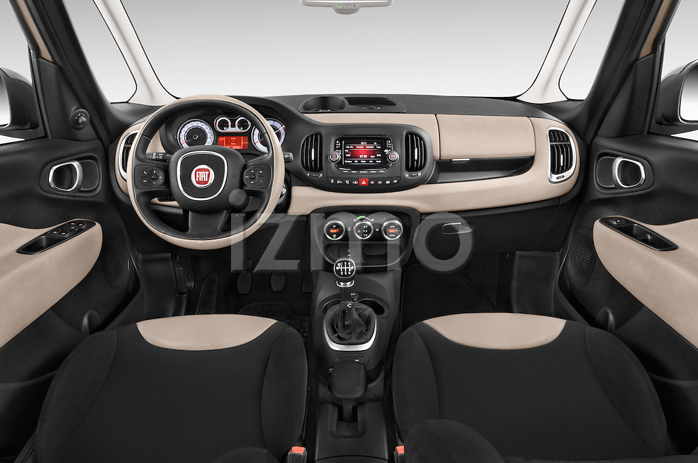 Stock photo of straight dashboard view of a 2014 Fiat 500L Lounge 5 Door MPV