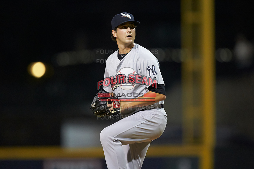 Scranton/Wilkes-Barre RailRiders relief pitcher Brady Lail (39) in action against the Gwinnett Stripers at BB&T BallPark on August 17, 2019 in Lawrenceville, Georgia. The Stripers defeated the RailRiders 8-7 in eleven innings. (Brian Westerholt/Four Seam Images)