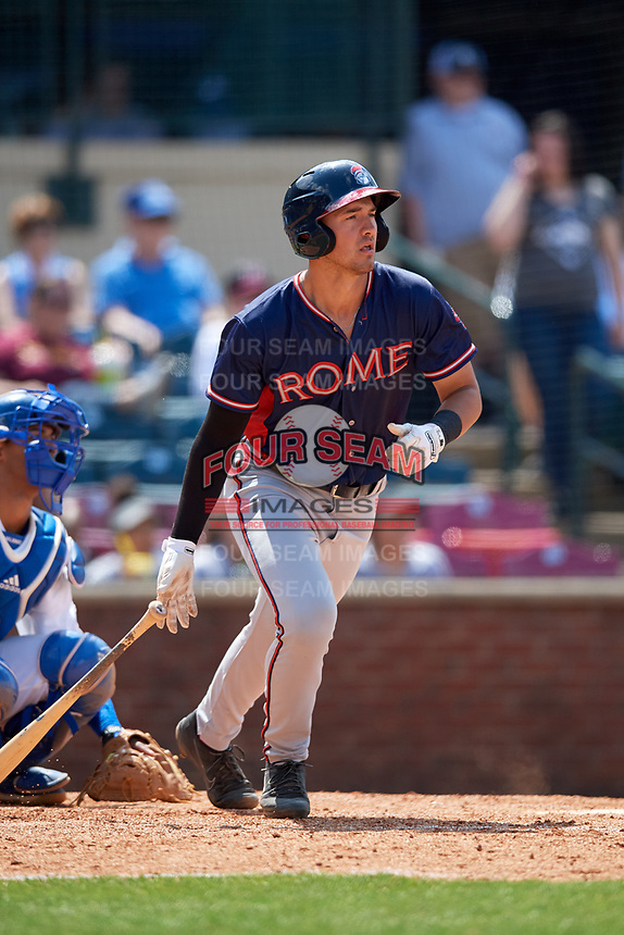 Rome Braves designated hitter Drew Lugbauer (15) follows through on a swing in front of catcher MJ Melendez (7)  during a game against the Lexington Legends on May 23, 2018 at Whitaker Bank Ballpark in Lexington, Kentucky.  Rome defeated Lexington 4-1.  (Mike Janes/Four Seam Images)