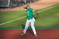 Marshall Thundering Herd third baseman Raul Cabrera (4) makes a throw to first base against the Charlotte 49ers at Hayes Stadium on March 22, 2019 in Charlotte, North Carolina. The Thundering Herd defeated the 49ers 12-6. (Brian Westerholt/Four Seam Images)