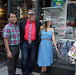 Anwar, Dale Badway, Amy London are showing off Jane's Luggage at Phantom of Broadway (1607 Broadway). Jane Elissa has her art designs in a gallery at Dr. Cohen's office - 333 W. 52nd Street, New York City, New York for view. Jane donates to Leukemia/Lymphoma Society. (Photo by Sue Coflin/Max Photos)