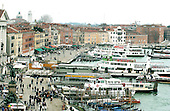 Venice, Italy - March 24, 2006 -- Elevated view looking east along the Canal della Giudecca from near the Palazzo Ducale in Venice, Italy on March 24, 2006.  .Credit: Ron Sachs / CNP