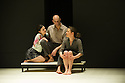 London, UK. 08.04.2014. A VIEW FROM THE BRIDGE, by Arthur Miller, opens at the Young Vic. Directed by Ivo Van Hove, design and light by Jan Versweyveld and costumes by An D'Huys. Picture shows: Phoebe Fox (Catherine), Mark Strong (Eddie) and Nicola Walker (Beatrice). Photograph © Jane Hobson.