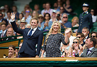 Mr Jason and Mrs Laura Kenny (Trott) in the Royal Box before the First Match on Saturday<br /> <br /> Photographer Ashley Western/CameraSport<br /> <br /> Wimbledon Lawn Tennis Championships - Day 6 - Saturday 8th July 2017 -  All England Lawn Tennis and Croquet Club - Wimbledon - London - England<br /> <br /> World Copyright &not;&copy; 2017 CameraSport. All rights reserved. 43 Linden Ave. Countesthorpe. Leicester. England. LE8 5PG - Tel: +44 (0) 116 277 4147 - admin@camerasport.com - www.camerasport.com