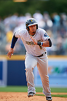 New Orleans Baby Cakes right fielder Moises Sierra (27) running the bases during a game against the Nashville Sounds on May 1, 2017 at First Tennessee Park in Nashville, Tennessee.  Nashville defeated New Orleans 6-4.  (Mike Janes/Four Seam Images)