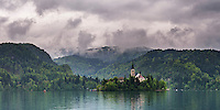 Lake Bled, Slovenia. Church of the Assumption of St Mary on Lake Bled Island, Bled, Julian Alps, Gorenjska, Upper Carniola Region, Slovenia, Europe
