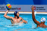 Mathias Olivon in action during game between Montenegro against France LEN European Water Polo Championships, Barcelona 16.07.2018