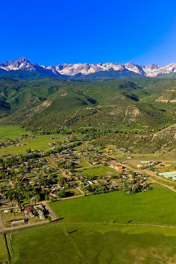 Aerial views above Ridgway, Colorado  USA (Sneffels Range of the San Juan Mountains in the background)