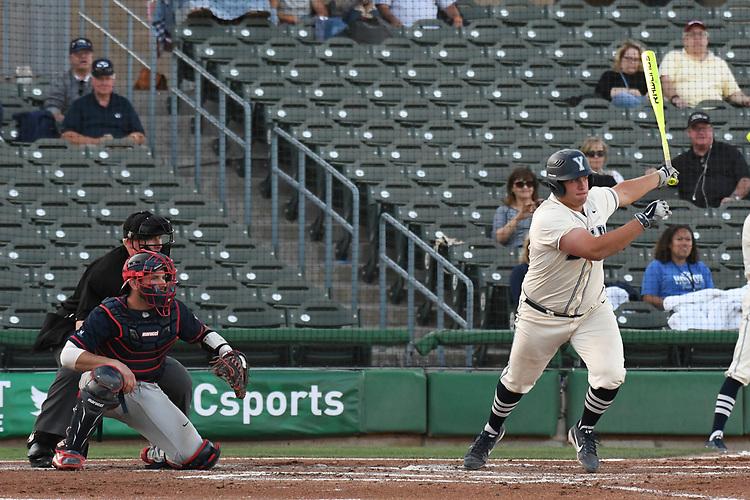 May 27, 2017; Stockton, CA, USA; BYU Cougars first baseman Colton Shaver during the WCC Baseball Championship at Banner Island Ballpark.