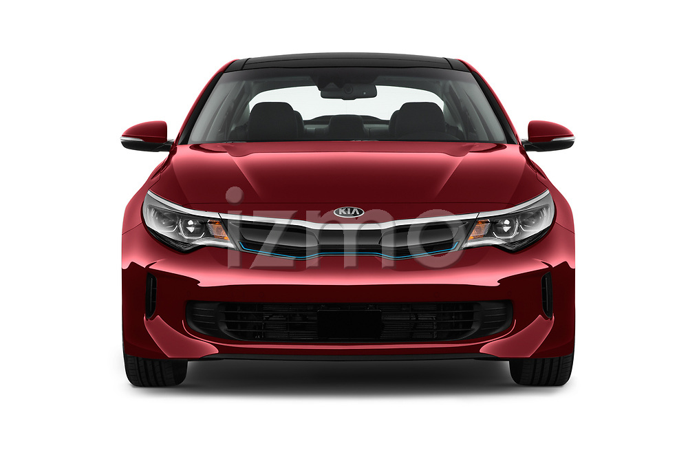 Car photography straight front view of a 2017 KIA Optima Plug-In Hybrid Fusion 4 Door Sedan