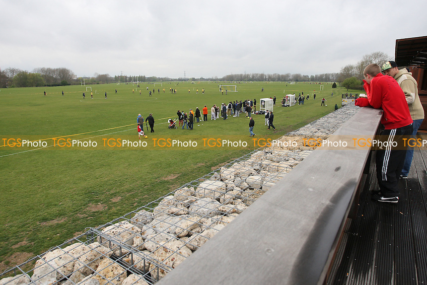 A general view of the match - Chapel Old Boys (blue) vs Mustard - Hackney & Leyton Sunday Football League Jack Morgan Cup Final at South Marsh, Hackney Marshes, London - 08/04/12 - MANDATORY CREDIT: Gavin Ellis/TGSPHOTO - Self billing applies where appropriate - 0845 094 6026 - contact@tgsphoto.co.uk - NO UNPAID USE.