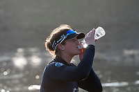 Putney, London,  Tideway Week, OUWBC. Oxford, Re-Hydration 6: Chloe Laverack, take a dring during a break Championship Course. River Thames, <br /> <br /> Tuesday  28/03/2017<br /> [Mandatory Credit; Credit: Peter Spurrier/Intersport Images.com ]