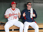 Ryan Pressly, left, and Jeremy Hazelbaker of the Greenville Drive do the Chicken Dance along with the crowd in the dugout between innings in a game against the West Virginia Power April 29, 2010, at Fluor Field at the West End in Greenville, S.C. Photo by: Tom Priddy/Four Seam Images