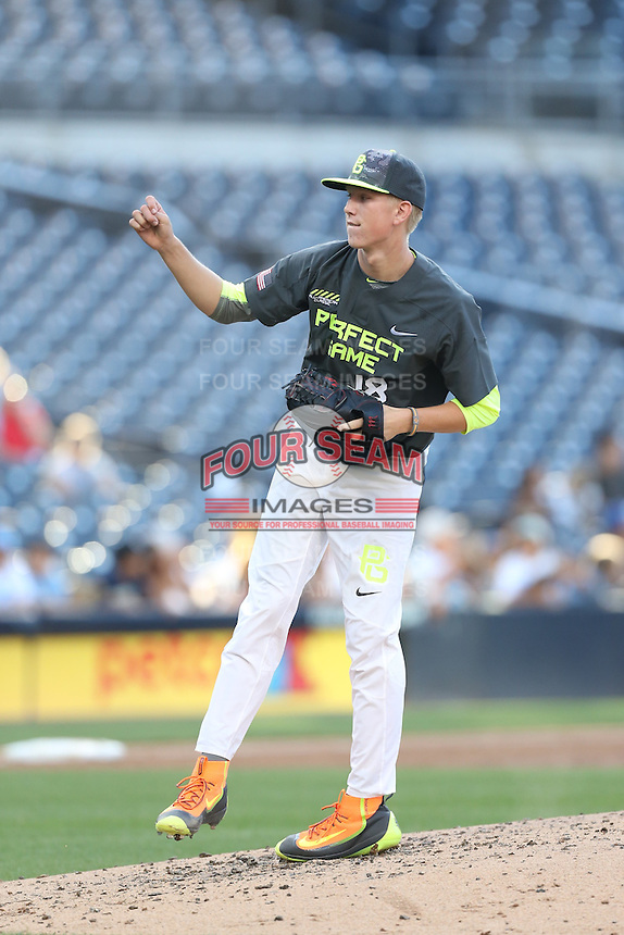 Ryan Zeferjahn (18) of the West team pitches during the 2015 Perfect Game All-American Classic at Petco Park on August 16, 2015 in San Diego, California. The East squad defeated the West, 3-1. (Larry Goren/Four Seam Images)