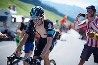 Wout Poels (NLD/SKY) crossing the last mountain of the day; the Col de Peyresourde (1569m/7.1km at 7.8%)<br /> <br /> stage 8: Pau - Bagnères-de-Luchon, 184km<br /> 103rd Tour de France 2016