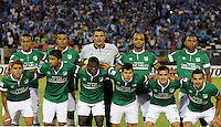SANTIAGO-CHILE -19-02-2014. Los jugadores Deportivo Cali de Colombia posan para los fotógrafos antes del partido con O'Higgins de Chile por la segunda fase, grupo 3 de la Copa Libertadores de America en el estadio Monumental de Santiago, Chile./ Deportivo Cali's players pose for the photographers prior a match against O'Higgins of Chile for the second phase, group 3 of the Copa Libertadores championship football match held at Monumental stadium in Santiago, Chile.   Photo: VizzorImage/ Martin Thomas /Photosport