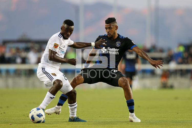 San Jose, CA - Saturday July 28, 2018: Anibal Godoy during a Major League Soccer (MLS) match between the San Jose Earthquakes and Real Salt Lake at Avaya Stadium.