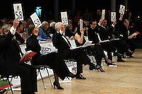 Tanz-WM 2010 - Profi Standard Kür - WDC World Championships Dance Show Standard - (18.12.2010 in Leipzig / Neue Messe) - im Bild: Feature / Punktrichter / Judges / Jury / Note / Bewertung / Punkte. Foto: Norman Rembarz ..Credits:.Norman Rembarz , Autorennummer 41043728 , Augustenstr. 2, 04317 Leipzig, Tel.: 01794887569, Hypovereinsbank: BLZ: 86020086, KN: 357889472, St.Nr.: 231/261/06432 - Jegliche kommerzielle Nutzung ist honorar- und mehrwertsteuerpflichtig! Persönlichkeitsrechte sind zu wahren. Es wird keine Haftung übernommen bei Verletzung von Rechten Dritter. Autoren-Nennung gem. §13 UrhGes. wird verlangt. Weitergabe an Dritte nur nach  vorheriger Absprache..Online Nutzung ist seperat kostenpflichtig !!!!