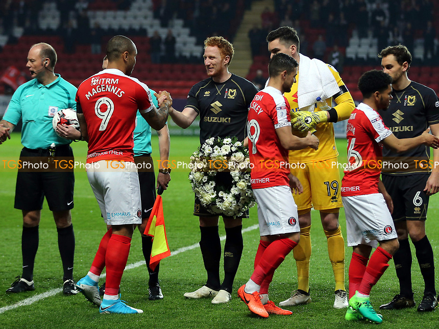 MK Dons captain, Dean Lewington, shakes hands with Charlton's Josh MaGennis during Charlton Athletic vs MK Dons, Sky Bet EFL League 1 Football at The Valley on 4th April 2017