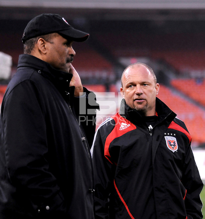 DC United Head Coach Tom Soehn with Executive Chairman Victor MacFarlane.  Chicago Fire tied DC United 1-1 at  RFK Stadium, Saturday March 28, 2009.