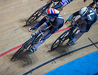 25th January 2020; National Cycling Centre, Manchester, Lancashire, England; HSBC British Cycling Track Championships; Emma Finucane leads the fied around the top bend and goes on to win heat four of the female keirin