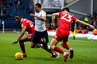 Preston North End's Lukas Nmecha takes on Nottingham Forest's Tendayi Darikwa and Joe Lolley<br /> <br /> Photographer Alex Dodd/CameraSport<br /> <br /> The EFL Sky Bet Championship - Preston North End v Nottingham Forest - Saturday 16th February 2019 - Deepdale Stadium - Preston<br /> <br /> World Copyright © 2019 CameraSport. All rights reserved. 43 Linden Ave. Countesthorpe. Leicester. England. LE8 5PG - Tel: +44 (0) 116 277 4147 - admin@camerasport.com - www.camerasport.com