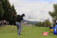 Fabrizio Zanotti (PAR) tees off the 18th tee during Sunday's Final Round of the 2017 Omega European Masters held at Golf Club Crans-Sur-Sierre, Crans Montana, Switzerland. 10th September 2017.<br /> Picture: Eoin Clarke | Golffile<br /> <br /> <br /> All photos usage must carry mandatory copyright credit (&copy; Golffile | Eoin Clarke)