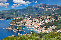 Aerial shot of the beautiful bay of Parga, Greece