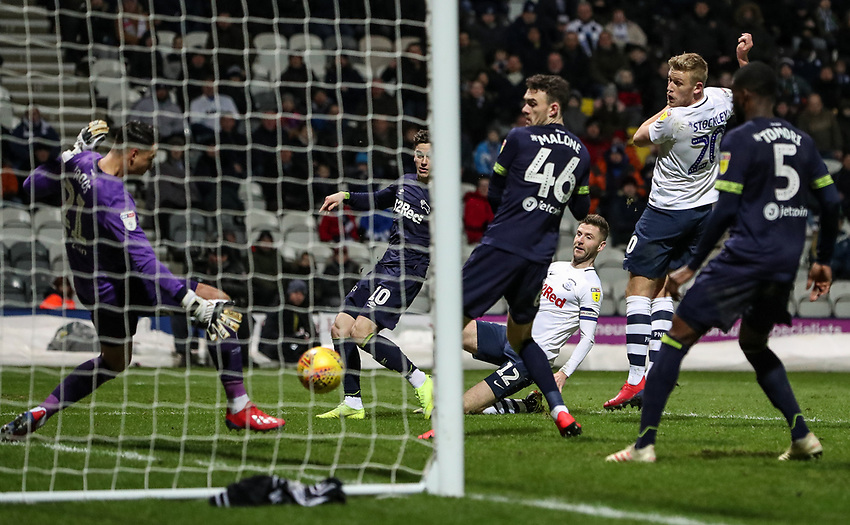 Preston North End's Paul Gallagher has his shot saved by Derby County's Kelle Roos  <br /> <br /> Photographer Andrew Kearns/CameraSport<br /> <br /> The EFL Sky Bet Championship - Preston North End v Derby County - Friday 1st February 2019 - Deepdale Stadium - Preston<br /> <br /> World Copyright © 2019 CameraSport. All rights reserved. 43 Linden Ave. Countesthorpe. Leicester. England. LE8 5PG - Tel: +44 (0) 116 277 4147 - admin@camerasport.com - www.camerasport.com