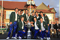 The USA Team after winning 15.5 to 10.5 in the final day singles matches at the Walker Cup, Royal Liverpool Golf Club, Hoylake, Cheshire, England. 08/09/2019.<br /> Picture Fran Caffrey / Golffile.ie<br /> <br /> All photo usage must carry mandatory copyright credit (© Golffile | Fran Caffrey)