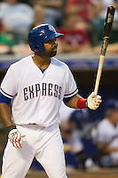 Round Rock Express outfielder Joey Butler #16 at bat during the Pacific Coast League baseball game against the Nashville Sounds on August 26th, 2012 at the Dell Diamond in Round Rock, Texas. The Sounds defeated the Express 11-5. (Andrew Woolley/Four Seam Images).