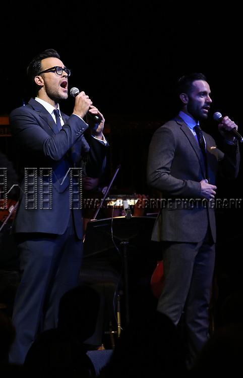 Cheyenne Jackson and Ramin Karimloo on stage at the  2017 Dramatists Guild Foundation Gala presentation at Gotham Hall on November 6, 2017 in New York City.