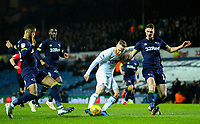 Leeds United's Adam Forshaw shoots at goal under pressure from Derby County's George Evans and Max Lowe<br /> <br /> Photographer Alex Dodd/CameraSport<br /> <br /> The EFL Sky Bet Championship -  Leeds United v Derby County - Friday 11th January 2019 - Elland Road - Leeds<br /> <br /> World Copyright &copy; 2019 CameraSport. All rights reserved. 43 Linden Ave. Countesthorpe. Leicester. England. LE8 5PG - Tel: +44 (0) 116 277 4147 - admin@camerasport.com - www.camerasport.com