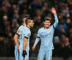 David Silva of Manchester City celebrates his first of two goals - Barclays Premier League - Manchester City vs Newcastle Utd - Etihad Stadium - Manchester - England - 21st February 2015 - Picture Simon Bellis/Sportimage