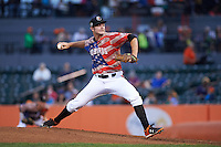 Aberdeen Ironbirds pitcher Patrick Baker (21) delivers a pitch during a game against the Tri-City ValleyCats on August 6, 2015 at Ripken Stadium in Aberdeen, Maryland.  Tri-City defeated Aberdeen 5-0 in a combined no-hitter.  (Mike Janes/Four Seam Images)