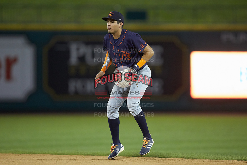 Bowling Green Hot Rods second baseman Jonathan Aranda (8) on defense against the Fort Wayne TinCaps at Parkview Field on August 20, 2019 in Fort Wayne, Indiana. The Hot Rods defeated the TinCaps 6-5. (Brian Westerholt/Four Seam Images)