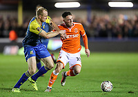 Blackpool's Jordan Thompson  competing with Solihull Moors' Alex Gudger<br /> <br /> Photographer Andrew Kearns/CameraSport<br /> <br /> The Emirates FA Cup Second Round - Solihull Moors v Blackpool - Friday 30th November 2018 - Damson Park - Solihull<br />  <br /> World Copyright © 2018 CameraSport. All rights reserved. 43 Linden Ave. Countesthorpe. Leicester. England. LE8 5PG - Tel: +44 (0) 116 277 4147 - admin@camerasport.com - www.camerasport.com