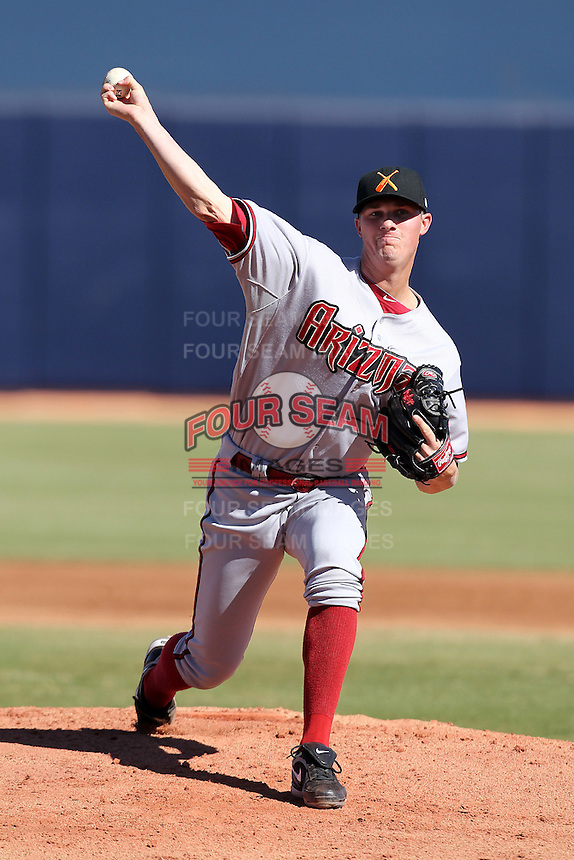 Salt River Rafters pitcher Charles Brewer #34 during an Arizona Fall League game against the Peoria Javelinas at Peoria Sports Complex on November 2, 2011 in Peoria, Arizona.  Peoria defeated Salt River 4-2.  (Mike Janes/Four Seam Images)