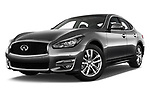 Stock pictures of low aggressive front three quarter view of 2016 Infiniti Q70 Premium 4 Door Sedan Low Aggressive