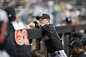 Ichiro Suzuki (Marlins),<br /> MAY 29, 2015 - MLB :<br /> Ichiro Suzuki of the Miami Marlins watches from the dugout during the Major League Baseball game against the New York Mets at Citi Field in Flushing, New York, United States. (Photo by Thomas Anderson/AFLO) (JAPANESE NEWSPAPER OUT)