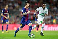 FC Barcelona's Leo Messi (l) and Chapecoense's Moises during Joan Gamper Trophy. August 7,2017. (ALTERPHOTOS/Acero) /NortePhoto.com