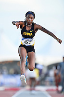 Zinnia Miller of Iowa competes in first round of triple jump during West Preliminary Track & Field Championships at John McDonnell Field, Friday, May 30, 2014 in Fayetteville, Ark. (Mo Khursheed/TFV Media via AP Images)